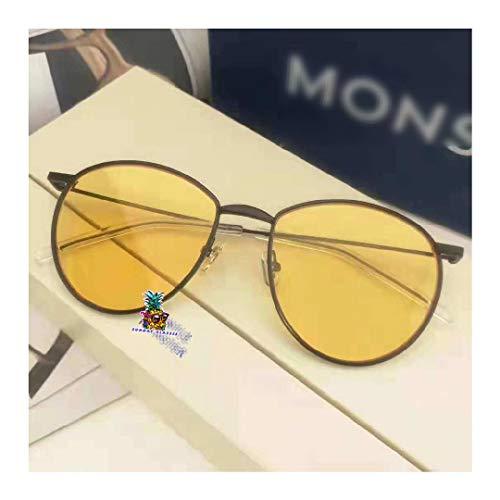 Man Trendy Metallic Frame Adjustable Nose Pad&Acetate Temple Tips Circular Nose Bridge Sunglasses for Baguette-Yellow