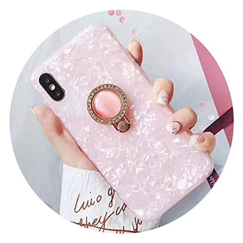 Candy Color Conch Shell Phone Case for iPhone X Cases for iPhone 7 6 6S 8 Plus Back Fashion Ring Bracket Cases Luxury Capa,Style 1,for iPhone 7