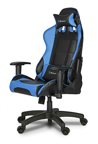 Arozzi Verona Junior Gaming Chair for Kids with High Backrest, Recliner, Swivel, Tilt, Rocker and Seat Height Adjustment, Lumbar and Headrest Pillows Included - Blue