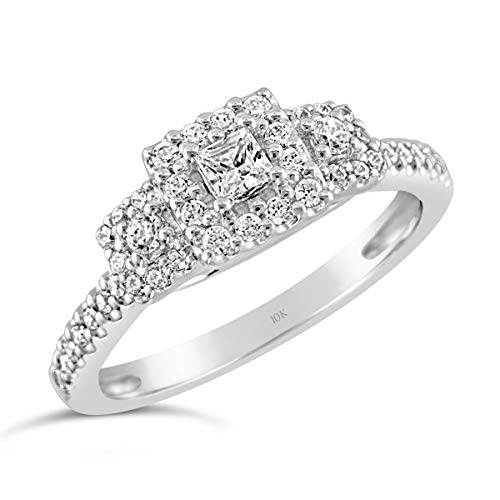 Brilliant Expressions 10K White Gold 3/8 Cttw Conflict Free Diamond Square Halo Three-Stone Engagement Ring (I-J Color, I2-I3 Clarity), Size 7