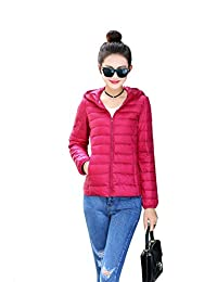Prettybuy Women's Hooded Packable Down Jacket Ultra Light Weight with Storage Bag