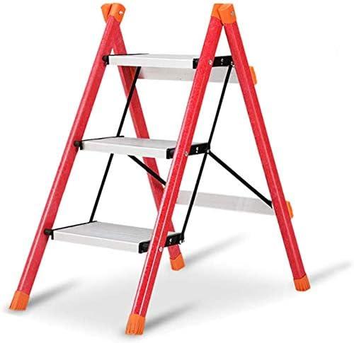 LADDER Taburete de escalera Taburete Taburete plegable de 3 peldaños, mini taburete con escalera antideslizante resistente y de pedal ancho, capacidad de carga de 120 kg, rojo: Amazon.es: Bricolaje y herramientas