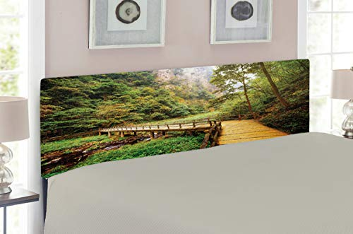 Lunarable Landscape Headboard for Full Size Bed, Wooden Bridge Over Mountain River Trees Rocks in Zhangjiajie Forest Park, Upholstered Decorative Metal Headboard with Memory Foam, Green and Brown ()