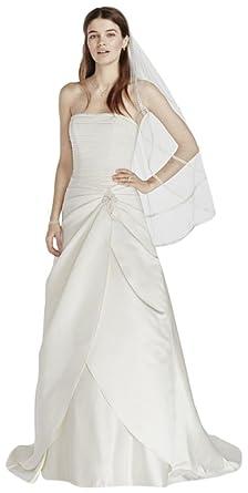 David\'s Bridal Satin Drop Waist Wedding Dress with Side Split ...