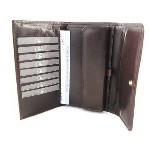 Wallet + checkbook holder leather 'Frandi' brown dakota. by Frandi