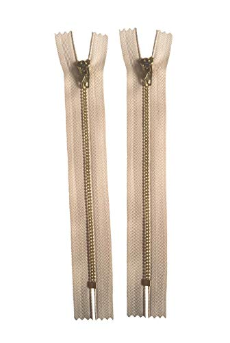 Vodeus #4 Color Gold Metal Teeth Closed Bottom 16cm Zippers 2 pcs ()