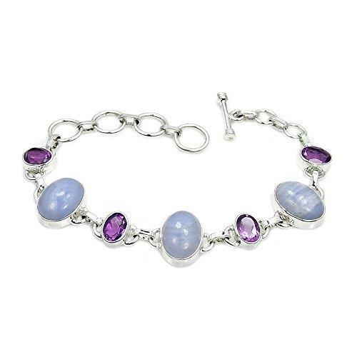 Sterling Silver Blue Lace Agate, Amethyst Bracelet, Adjustable From 6