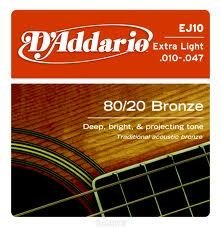 D'Addario EJ10x5  Acous Guit Strings, 80/20 Brnz Rnd Wnd, Ex