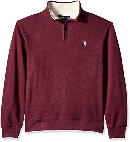 (U.S. Polo Assn. Men's Quarter Zip Mock Neck Pullover, Cranberry Heather, L)