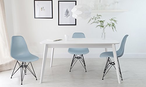 GIA Fog Gray Armless Home Office/Side Dining Chair(Set of 4) - Eames Style - Metal Legs - Seat Height 18 inch - Weight Capacity of 300+ Pounds - Easy Assembly - Extra Durable and (Armless Dining Set)