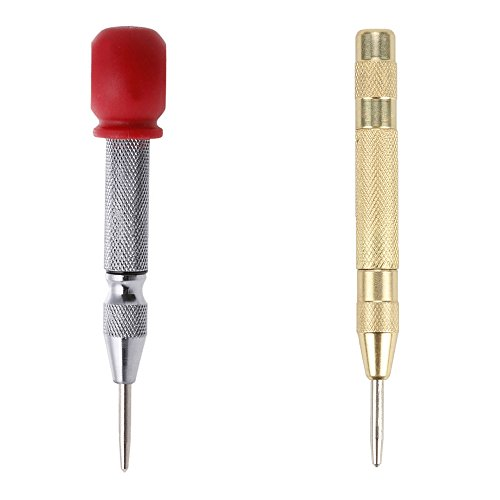 Breynet Automatic Spring-Loaded Center Punch Tool Set for Steel Wood Plastic Determine Drilling Position Centering Hole Punch and Dimple Tool (Centering Tool)