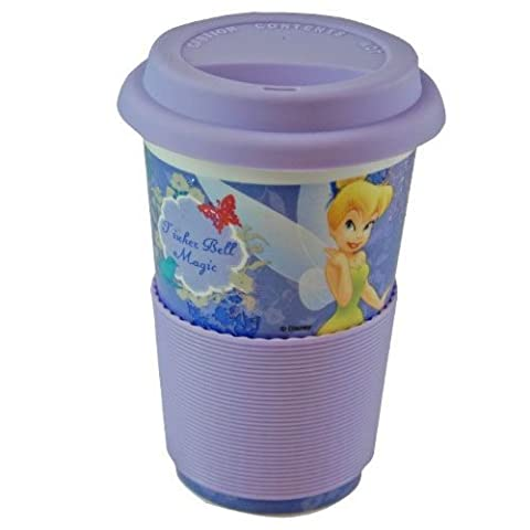 Disney Tinkerbell Fairies Porcelain Travel Mug with Silicone Grip & Lid