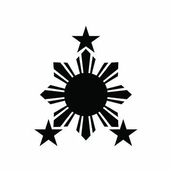 2x philippines sun black sticker 2 decal die cut