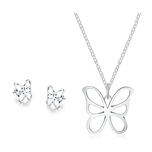 Set Stud Earring Butterfly (Majesto 925 Sterling Silver Butterfly Pendant Necklace Stud Earrings Set for Women Teen Girls Prime Gift)