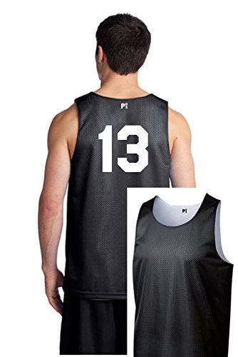 Players Inc Basketball Custom Numbered Black-White Reversible Mesh Uniform Top (Adult Medium)