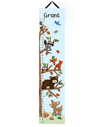 - Canvas GROWTH CHART Woodland Friends Forest Animals Kids Bedroom Baby Nursery Wall Art Personalized Kids Growth Chart Height Chart GC0109