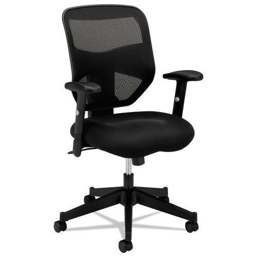 HON Prominent High Back Work Chair - Mesh Computer Chair for Office Desk, Black (Custom Back Swivel Arms)