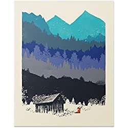 Wilderness Nature Lover Art Print Mountain Forest Outdoor Landscape Inspiration Woodland Red Fox Rustic Cabin House Poster Home Decor 8 x 10 inches