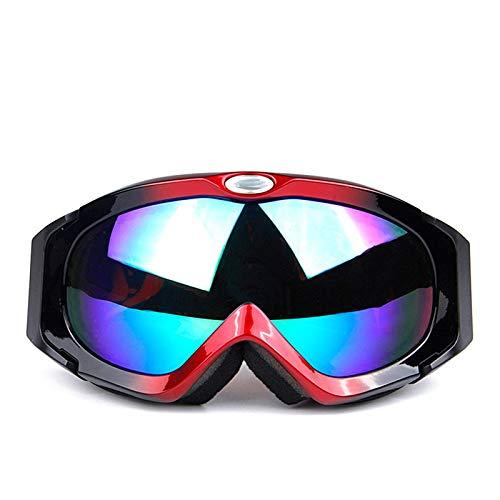 Adisaer Riding Goggles Spherical Double Anti-Fog Goggles Anti-UV ski Goggles Red Black for Unisex-Adult