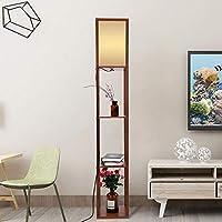 Lámpara De Pie Madera Roble Tela Vertical de Suelo Moderna con Unidades de Estanterías Integradas para Salones Lounge Pasillo Decoración ...