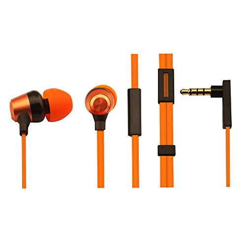 Recomfit® 3.5mm Stereo Earbuds with Microphone for Apple Iphone Samsung Android Smartphone (Metallic Orange)