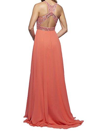 Langes Ballkleider mit Promkleider Abschlussballkleider Charmant Damen Violett Steine Chiffon Abendkleider 4A5qw4IRx