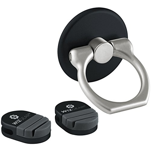 WizGear Universal Ring Grip with Stand Holder for Any Smartphones and Device - with 2 Mounts to Clip on The Finger Holder (Black)