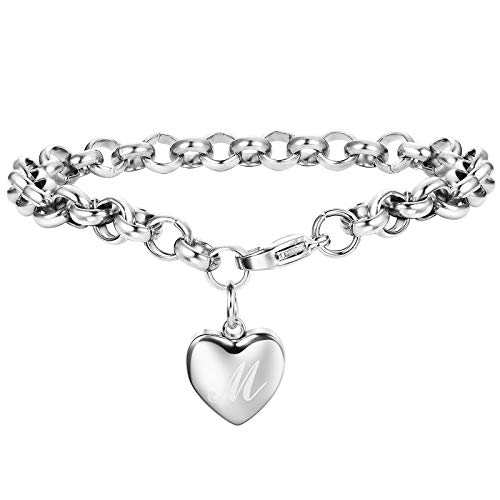 Adramata Rose Gold Silver Personalized Initial Bracelets for Women Girls Customized Heart Cute Ankle Bracelets Adjustable M ()
