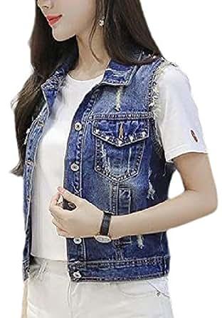 Women's Sexy Sleeveless Slim Fit Cropped Denim Jacket Vest Blue 2XL