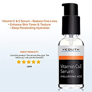 YEOUTH Vitamin C and E Day Serum with Hyaluronic Acid., anti aging skin care product/anti wrinkle serum will fill fine lines, even skin tone and fade age spots.