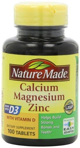 Nature Calcium Magnésium Fabriqué et complément alimentaire Zinc Fabriqué avec vitamine D 300 comprimés par bouteille