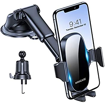 Miracase 4-in-1 Cell Cellphone Holder for Automobile, Common Automobile Cellphone Holder Mount for Dashboard Air Vent Windshield Suitable with iPhone 11 Professional Max/SE/XR/XS/8 Plus/Samsung S20 Ultral/Word 10 & All Telephones