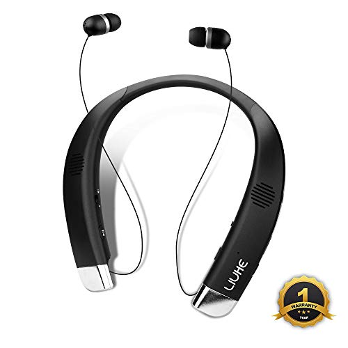 LIUHE [Upgrade] Bluetooth Headphone Speaker 2-in-1, Retractable Wireless Neckband Earbuds with Built-in Speaker and Microphone Noise Canceling Sports Headsets Stereo Sound Sweatproof Headphones