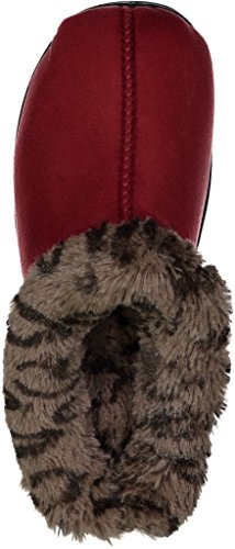 BEVERLY ROCK Womans New Faux Suede, Leopard Fur Lined Clogs, in 3 Pretty Colors Burgundy