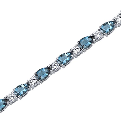 13.00 Carats London Blue Topaz Tennis Bracelet Sterling Silver Rhodium Nickel Finish Pear Shape