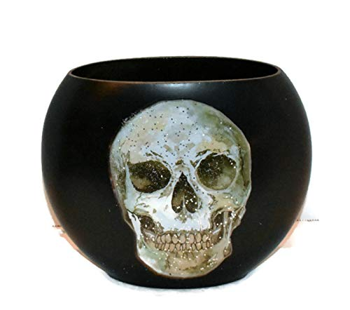 New PIer Skull Face One Light Up Plug in Oval Glass Lamp -