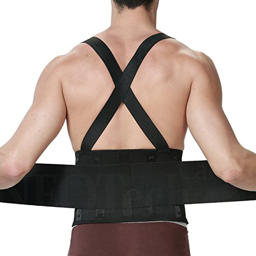 Lumbar Support Belt with Suspenders for Men - Adjustable & Light - Back Brace Shoulder Holsters - Lower Back Pain, Work, Lifting, Exercise, Sport - Neotech Care Brand - Black - Size XXL