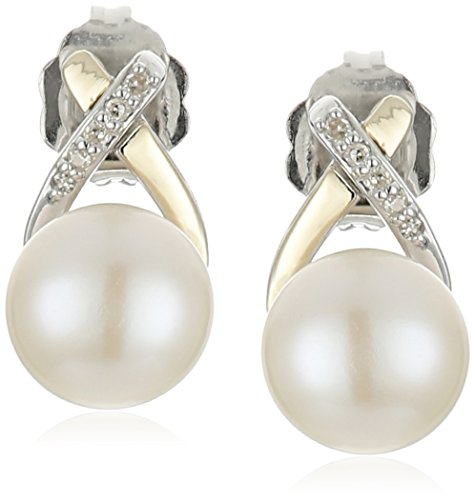 Sterling Silver and 14k Yellow Gold Hugs and Kisses Freshwater Cultured Pearl with Diamond Accent Stud Earrings (Hugs 14k Yellow)