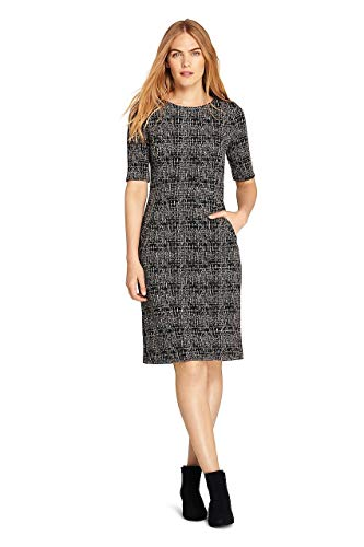 (Lands' End Women's Petite Ponte Knit Sheath Tweed Dress with Elbow Sleeves, 16, Black/Tan Texture)