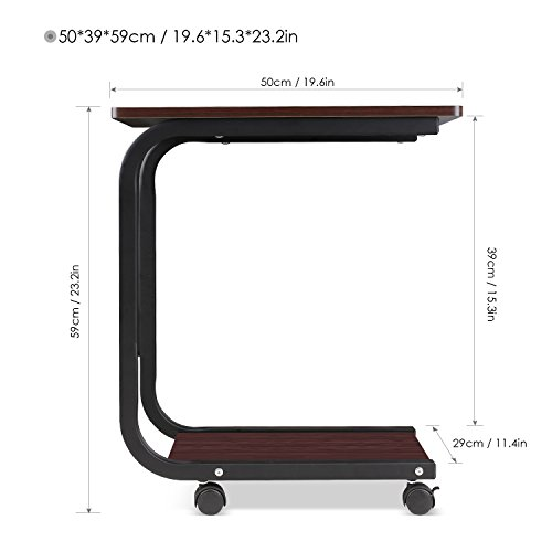 HOMFA U-Shaped Side Table Computer Tray Sofa Couch End Table Rolling Laptop Desk on wheels (Walnut color)
