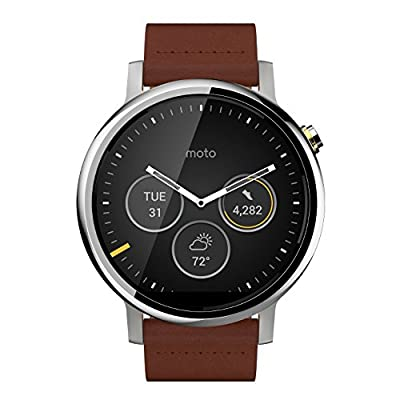 Motorola 2nd Generation Moto 360 46mm Smartwatch with Leather Wrist Band - Certified Refurbished (Silver & Cognac)