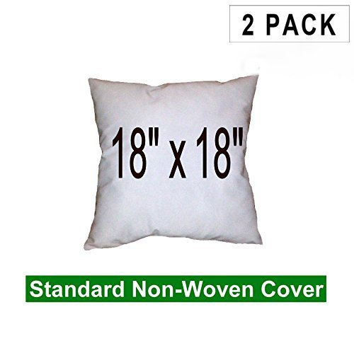 (2 Pack) Pillow Inserts 18 x 18 Square -100% polyester fibre filled Hometex