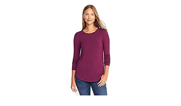b75a1b641 Amazon.com: Luxe Curved-Hem Crew-Neck Tee for Women Wine: Clothing