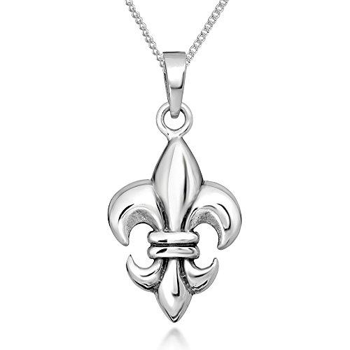 925 Sterling Silver Fleur de Lis Pendant Necklace, 18