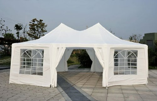 Outsunny 29′ x 21′ 10-Wall Large Party Gazebo Tent – White