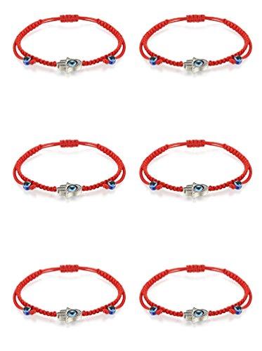 LOLIAS 6Pcs Kabbalah Evil Eye Bracelet Hamsa Braided Bracelets for Men Women Red