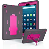 "EpicGadget Case for Fire HD 8 (8th and 7th Generation, 2018 and 2017 Release) Amazon Fire HD 8"" Heavy Duty Hybrid Case Cover with Kickstand for Fire HD 8"" and 1 Fire 8 HD Screen Protector (Gray/Pink)"
