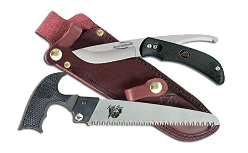 Leather Sheath Knife Double Set - Outdoor Edge SwingBlade Pak, SP-1, SwingBlade Double Blade Hunting Knife and Bone Saw Combo with Leather Sheath