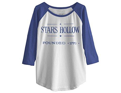 Ripple Junction Gilmore Girls Vintage Stars Hollow Junior Baseball Raglan 3/4 Sleeve XL White/Blue