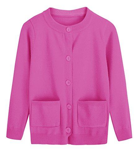 RJXDLT Girls Cardigan Knit Sweaters Long Sleeve Button Cotton Sweater 9-10Y - Cotton Cuff Sweater Button